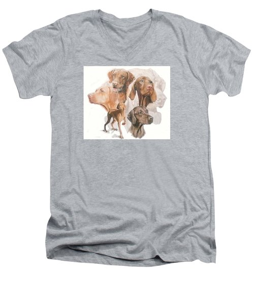 Hungarian Vizsla W/ghost Men's V-Neck T-Shirt