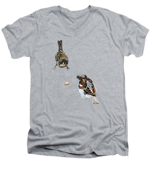 Hungry Sparrows Men's V-Neck T-Shirt by Birgit Jentsch