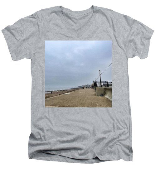 Hunstanton At 4pm Yesterday As The Men's V-Neck T-Shirt by John Edwards