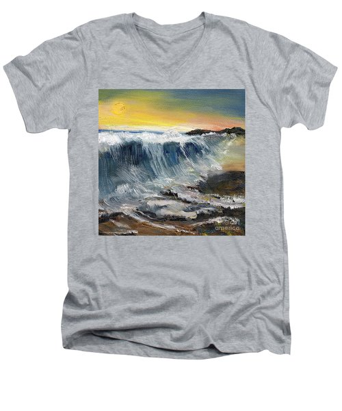 Hunter's Moon Men's V-Neck T-Shirt by Randy Sprout