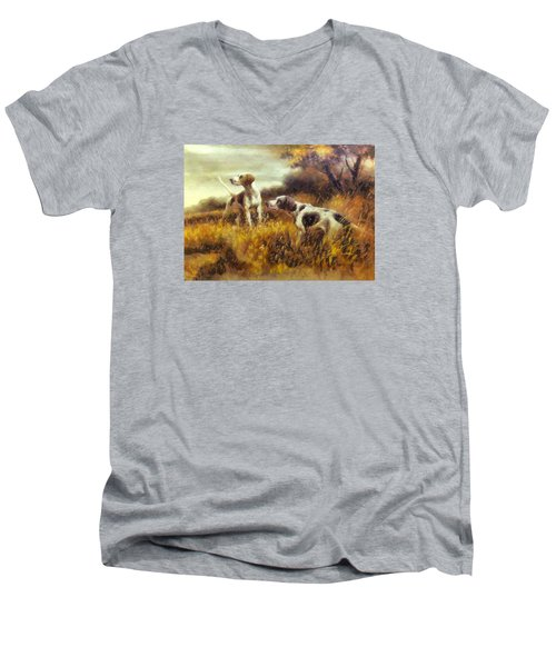 Men's V-Neck T-Shirt featuring the digital art Hunting Dogs No1 by Charmaine Zoe