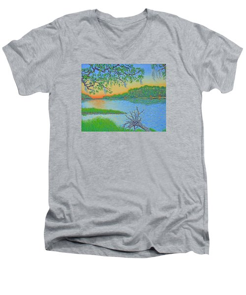 Men's V-Neck T-Shirt featuring the painting Hunting Island Lagoon 2 by Dwain Ray