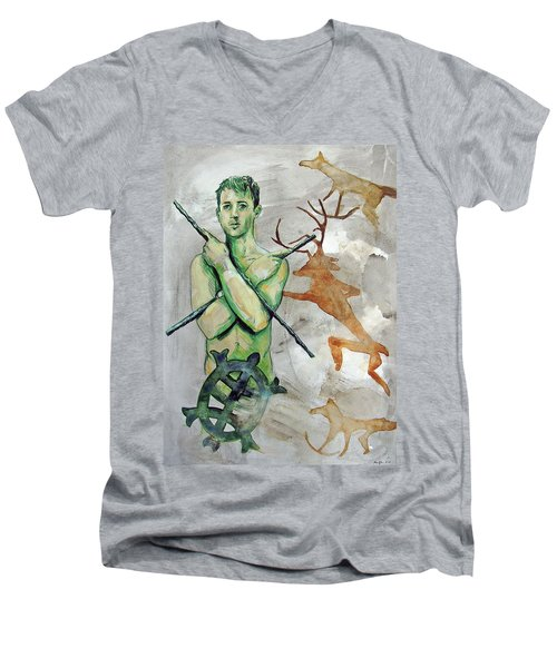 Men's V-Neck T-Shirt featuring the painting Youth Hunting Turtles by Rene Capone
