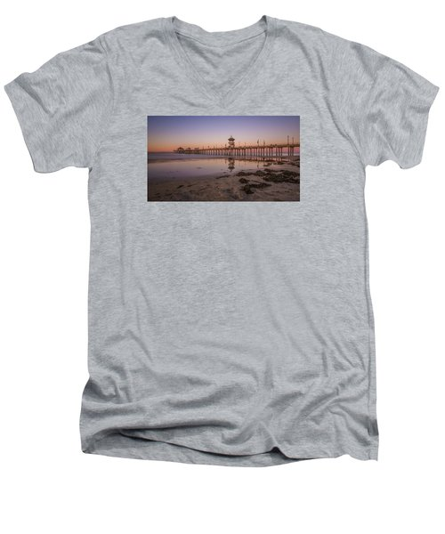 Men's V-Neck T-Shirt featuring the photograph Huntington Beach Pier by Sean Foster