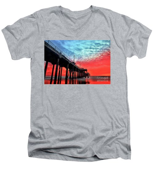 Huntington Beach Pier Sunset Men's V-Neck T-Shirt