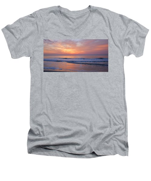 Huntington Beach Sunrise, Nc Men's V-Neck T-Shirt by Alan Lenk