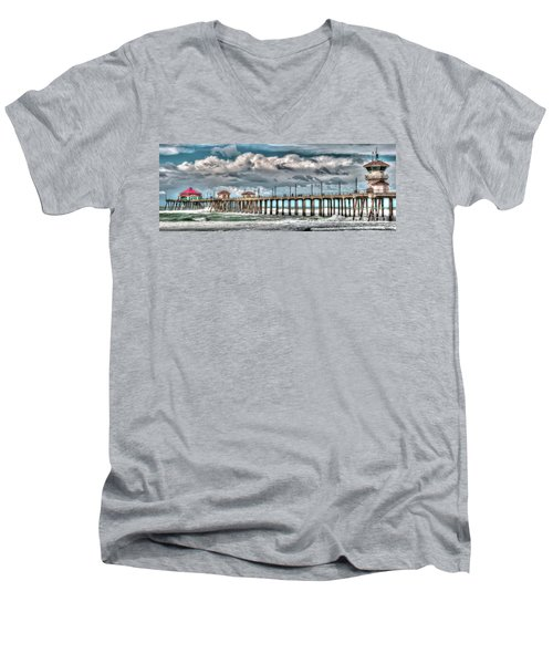 Men's V-Neck T-Shirt featuring the photograph Huntington Beach Winter 2017 by Jim Carrell