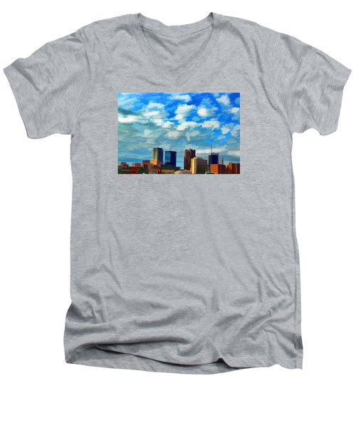 Huntsville Alabama Skyline Abstract Art Men's V-Neck T-Shirt by Lesa Fine