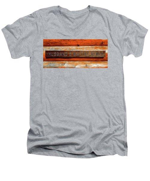 Husband's Waiting Bench - Denali National Park Men's V-Neck T-Shirt by Joseph Hendrix