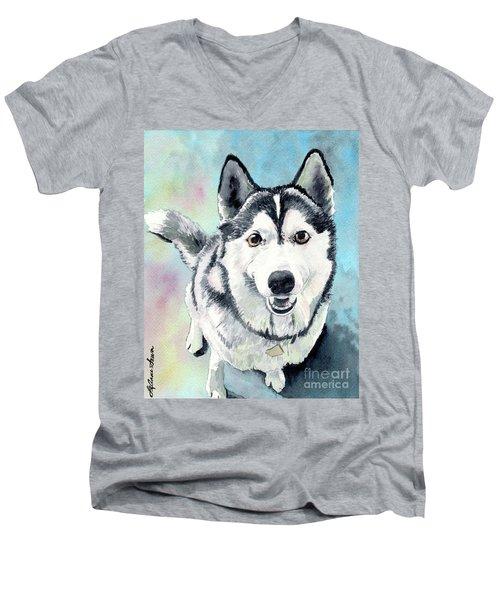 Husky Dog Love, Husky Painting, Husky Print, Dog Painting, Dog Print Men's V-Neck T-Shirt