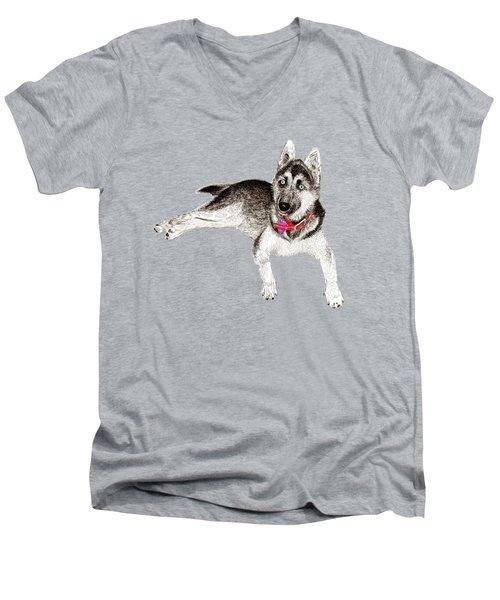 Husky Puppy Bella Men's V-Neck T-Shirt