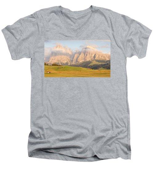 Huts On The Alpe Di Siusi Men's V-Neck T-Shirt