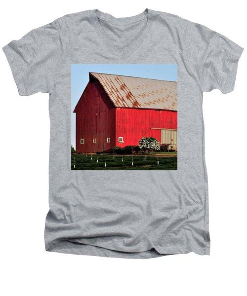 Hwy 47 Red Barn 21x21 Men's V-Neck T-Shirt by Jerry Sodorff