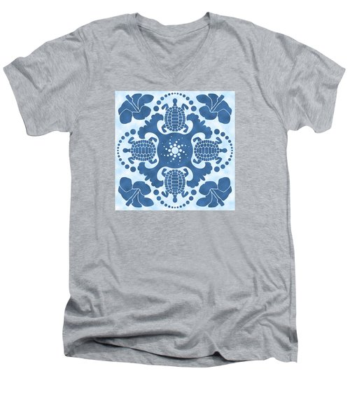 Hybiscus And Turtle Hawaiian Quilt Block Men's V-Neck T-Shirt