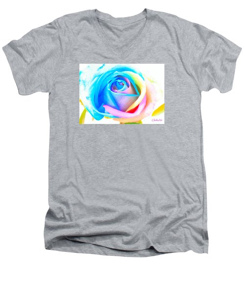 Rainbow Rose Men's V-Neck T-Shirt