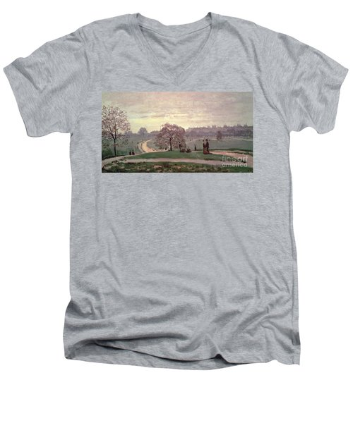 Hyde Park Men's V-Neck T-Shirt by Claude Monet