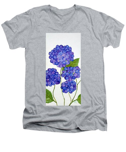 Men's V-Neck T-Shirt featuring the painting Hydrangea by Reina Resto