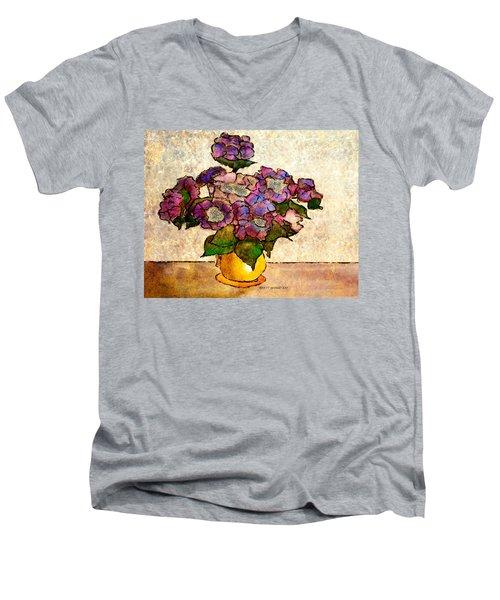 Hydrangeas In Yellow Jug Men's V-Neck T-Shirt