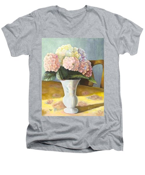 Men's V-Neck T-Shirt featuring the painting Hydrangeas by Marlene Book