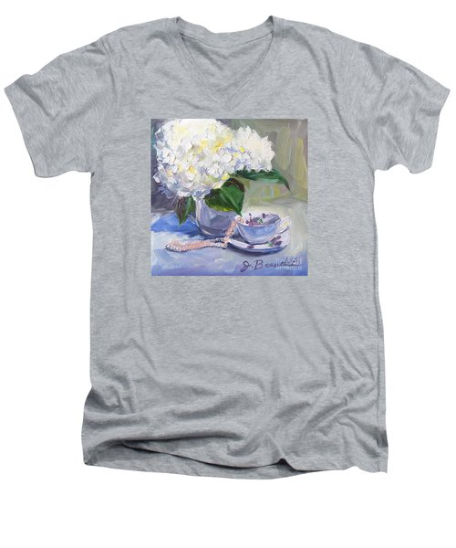Men's V-Neck T-Shirt featuring the painting Hydrangeas With Pearls  by Jennifer Beaudet