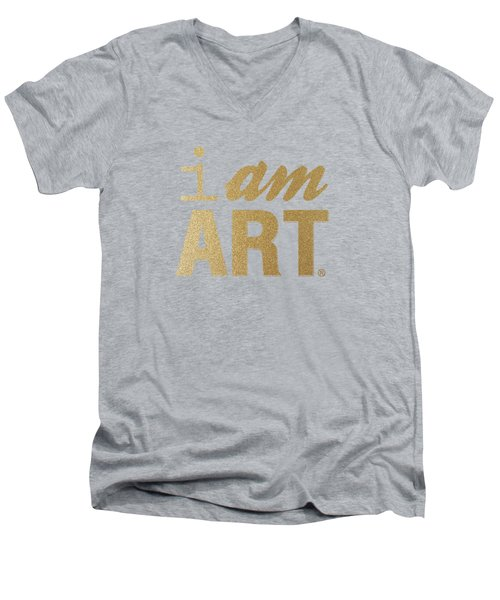 Men's V-Neck T-Shirt featuring the mixed media I Am Art- Gold by Linda Woods