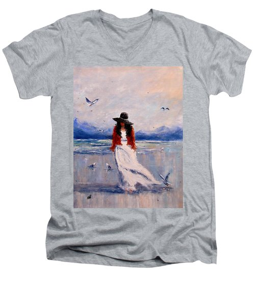 Men's V-Neck T-Shirt featuring the painting I Am Just A Dreamer.. by Cristina Mihailescu