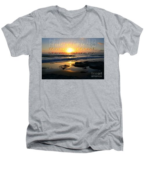 I Can Do All Things... Men's V-Neck T-Shirt by Sharon Soberon