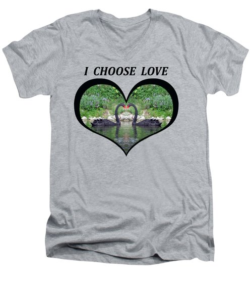 I Chose Love With Black Swans Forming A Heart Men's V-Neck T-Shirt by Julia L Wright