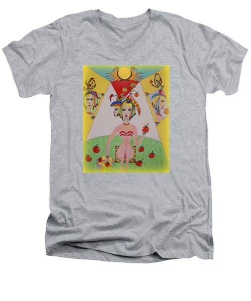 Men's V-Neck T-Shirt featuring the painting I Don't Like This Apple by Marie Schwarzer