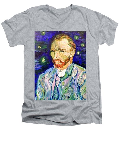 Men's V-Neck T-Shirt featuring the painting I Dream My Painting And I Paint My Dream by Belinda Low
