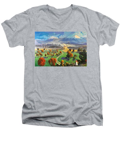 Men's V-Neck T-Shirt featuring the painting I Dreamed America by Art James West