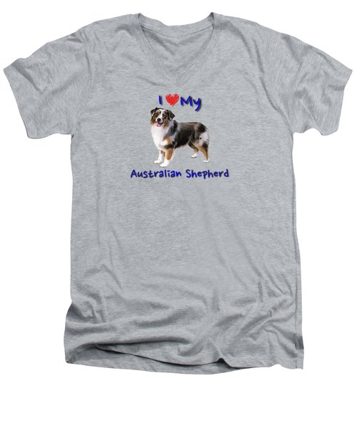 I Heart My Australian Shepherd Men's V-Neck T-Shirt
