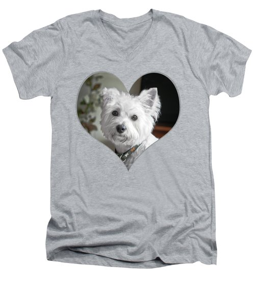 I Heart Puppy On A Transparent Background Men's V-Neck T-Shirt