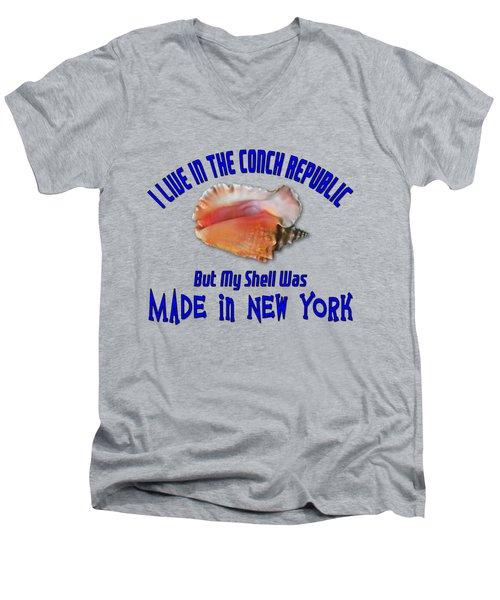 I Live In The Conch Republic Men's V-Neck T-Shirt by Bob Slitzan