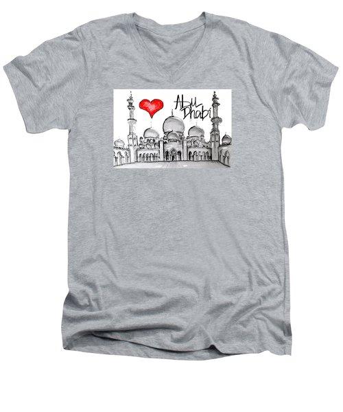 I Love Abu Dhabi Men's V-Neck T-Shirt by Sladjana Lazarevic