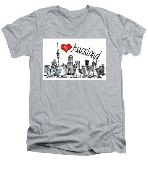 I Love Auckland  Men's V-Neck T-Shirt by Sladjana Lazarevic