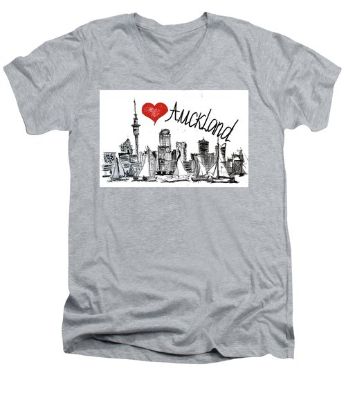 I Love Auckland  Men's V-Neck T-Shirt