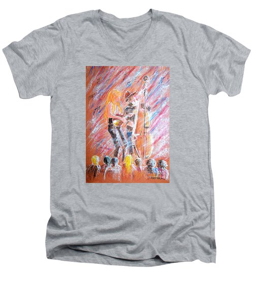Men's V-Neck T-Shirt featuring the painting I Love Bluegrass by Bill Holkham