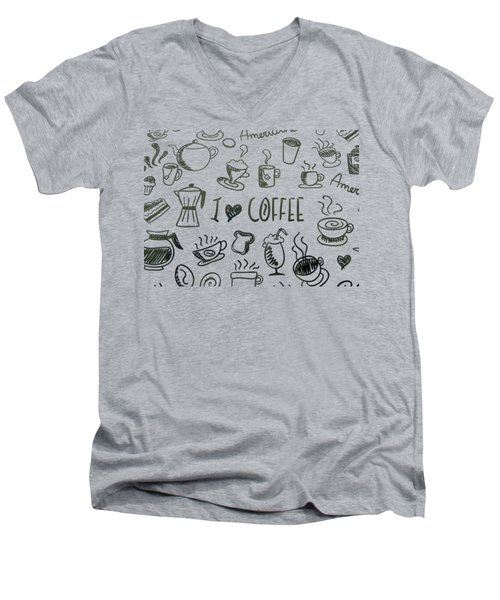 I Love Coffee Men's V-Neck T-Shirt by Tracey Harrington-Simpson