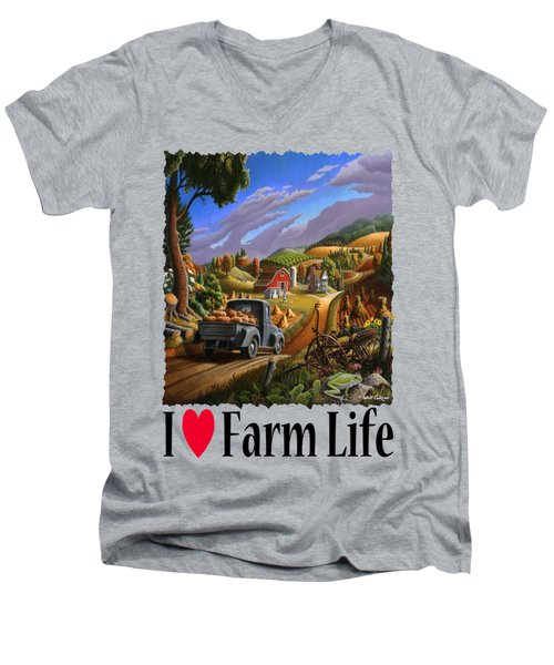 I Love Farm Life - Taking Pumpkins To Market - Appalachian Farm Landscape Men's V-Neck T-Shirt by Walt Curlee