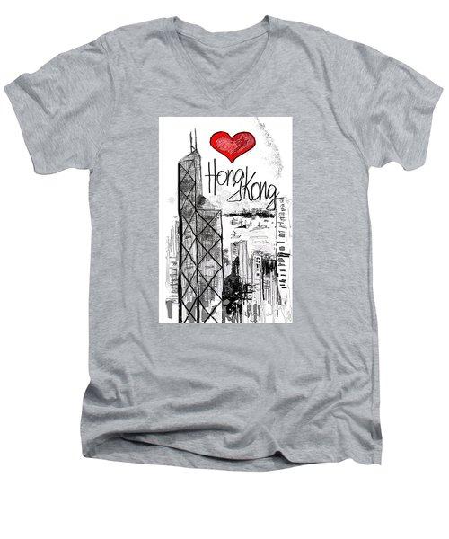 I Love Hong Kong  Men's V-Neck T-Shirt by Sladjana Lazarevic