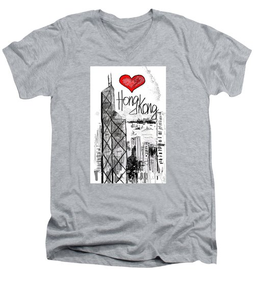 I Love Hong Kong  Men's V-Neck T-Shirt