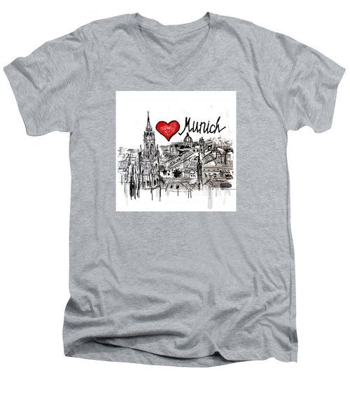 I Love Munich Men's V-Neck T-Shirt