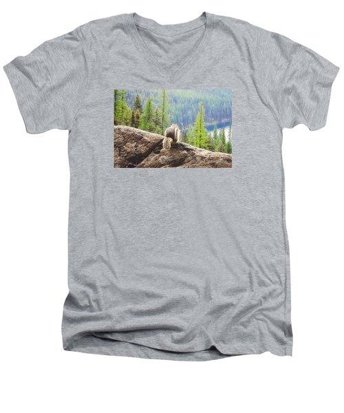 Men's V-Neck T-Shirt featuring the photograph I Love My Home by Janie Johnson