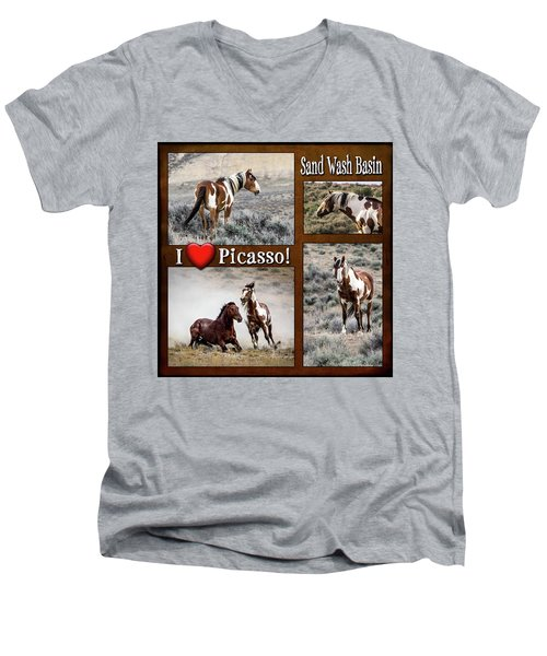 I Love Picasso Collage Men's V-Neck T-Shirt