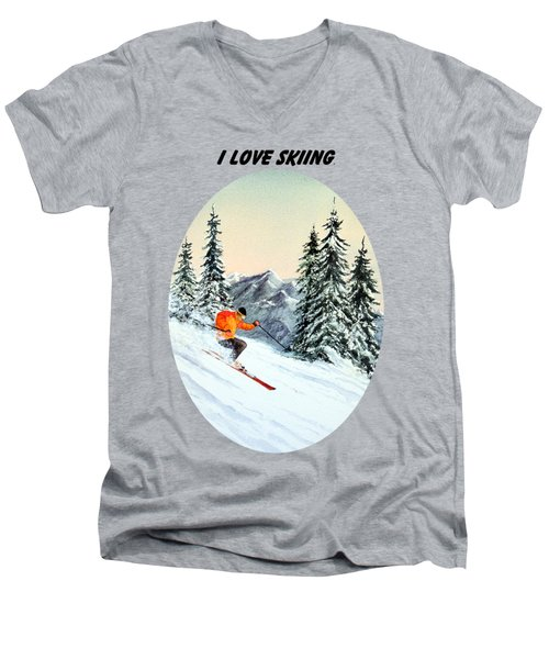 Men's V-Neck T-Shirt featuring the painting I Love Skiing  by Bill Holkham