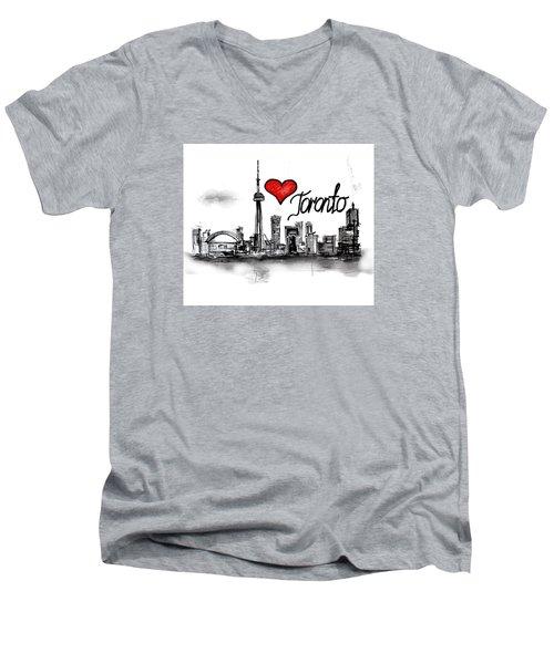 I Love Toronto Men's V-Neck T-Shirt by Sladjana Lazarevic