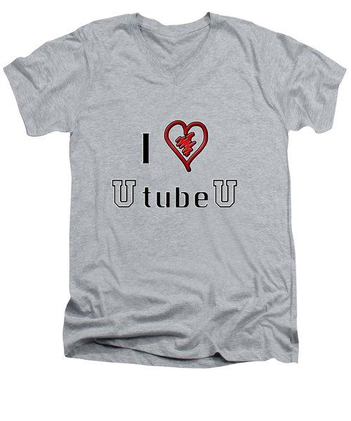 I Love U Tube U Men's V-Neck T-Shirt by Phyllis Denton