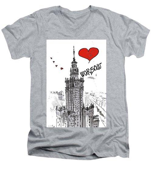 I Love Warsaw Men's V-Neck T-Shirt by Sladjana Lazarevic