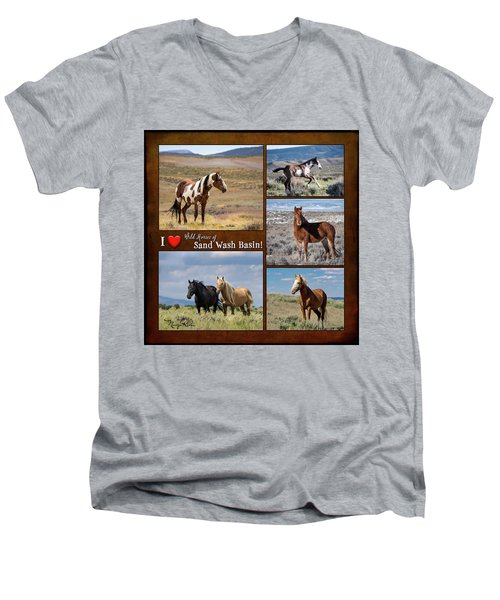 I Love Wild Horses Of Sand Wash Basin Men's V-Neck T-Shirt